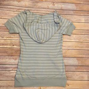 Express Tops - Express Grey Striped Hoodie, Side Medium